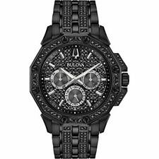 Bulova 98C134 Men's Crystal Quartz Black Pave Dial Bracelet Watch