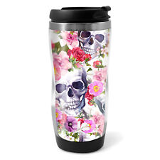 Flowery Sugar Skull Travel Mug Flask - 330ml Coffee Tea Kids Car Gift #13088
