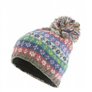 Pachamama 100% Wool Bloomsbury Cool Bobble Hat Multi-Coloured Stripes