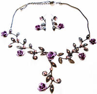Rhinestone Necklace Earring Set Bridal Prom Bridesmaid Jewelry Purple Rose