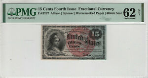 15 CENT FOURTH ISSUE FR.1267 POSTAL FRACTIONAL CURRENCY PMG UNC 62 NET