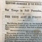 1862 CIVIL WAR newspaper ROBERT E  LEE ABANDONS YORKTOWN Va. w LARGE MAP