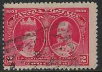 Scott 98 - 2c Carmine 1908 Quebec Tercentenary with DANVILLE QUE Squared Circle