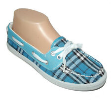 NEW Blue White black Plaid lace FLAT SLIP ON MOCCASIN LOAFER Boat Shoes size 7