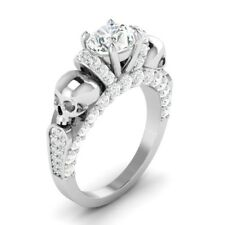 Certified 2.25ct White Round Diamond Skull Engagement Ring in 14K White Gold