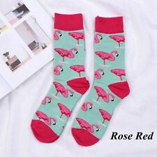 Winter Warm Cute Novelty Flamingo Casual Socks Retro Cotton Hosiery Gifts Unisex Rose Red