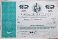 Georgia-Pacific Corporation 1976 $1000 Bond Certificate-Aqua w/Statue of Liberty