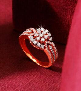 1.41ct Natural Round Diamond 14K Solid Rose Gold Anniversary Wedding Ring