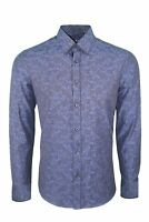 Dominic Stefano Detailed Pattern With Pipping Smart Casual Mens Navy Shirt 391