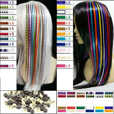 Cg_ 60x Grizzly & 60pcs Solid Snythetic Feathers Hair Extension Free Beads Delu