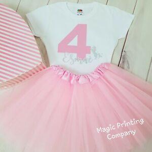 ANY NAME PINK UNICORN BIRTHDAY OUTFIT DRESS TUTU CAKE SMASH GIRLS KIDS PARTY UK