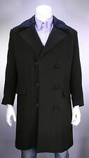 * LOUIS VUITTON* Brown Heavy 100% Cashmere w/ Astrakhan Collar 3B DB Overcoat 44