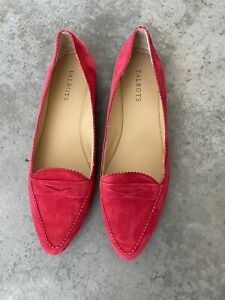 Talbots Red Suede Leather Pointed Penny Loafers Flats 10M / 10 M