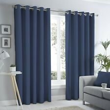 Fusion Sorbonne Ready Made Plain 100% Cotton Fully Lined Eyelet Curtains Navy