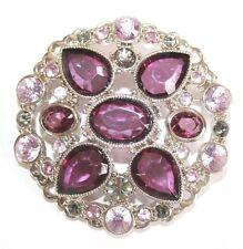 Brooch Pin - LC Liz Claiborne - Flower - Purple & Gray Rhinestones - Silver Tone