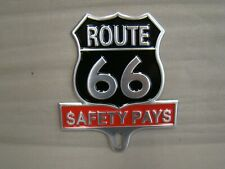 stamped metal Route 66 License plate topper historic topper safety pays topper