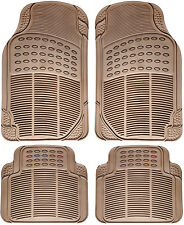 Car Floor Mats for All Weather Rubber 4pc Set Semi Custom Fit Heavy Duty Beige (Fits: Ford Tempo)