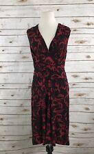 Norma Kamali woman's dress sz S Black Red floral cross V-Neck Tie waist casual