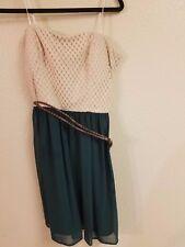 Sexy Tan Lace and green Dress strapless Size 11 12 Jodi Kristopher