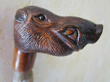 poignée de canne/parapluie -animal en bois sculpté polychrome - sanglier