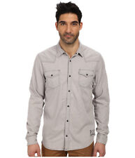 Nwt $95 Buffalo David Bitton Men Fit Beige Long-Sleeve Button Dress Shirt Size S