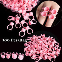 100Pcs Disposable Tattoo Ink Pigments Cup Ring Eyelash Pallet Glue Holders~