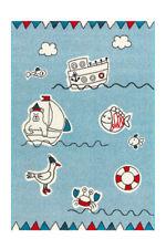 Arte Espina Kinderteppich Boot Schiff Fisch Kinderzimmer Blau Rot Weiß 80x150cm
