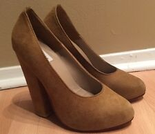 MAURIE & EVE ARIANNE CARAMEL SUEDE LEATHER PUMP HEEL SHOES 36 / 6 NEW