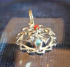 Lovely Sterling Silver Christmas Bells Charm with Red & Blue Beads