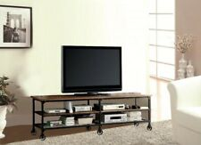 """Benzara Industrial Style 81"""" TV Stand And Entertainment Center With 6 Casters"""