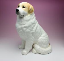 """11""""H Sitting Great Pyrenees White with Tan Markings Porcelain Dog Figurine Japan"""