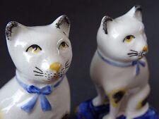 Pair Vintage Black White Cat Ornaments Figurines Staffordshire Miniature Cushion