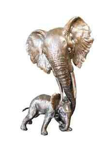 Elephant Mother Solid Bronze Foundry Cast Sculpture (1123)