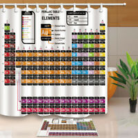 Periodic table of elements Fabric Shower Curtain Set Chemistry Bathroom Curtain