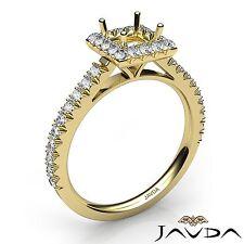 Princess Shape Semi Mount 1Ct Diamond Engagement Halo Prong Ring 18k Yellow Gold