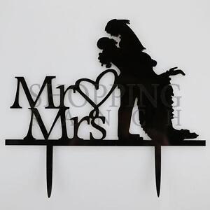 Wedding Cake Topper Mr & Mrs Bride & Groom Love Black Acrylic Embrace
