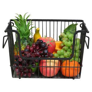 Wire Storage Basket Vegetable Fruit Rack Holder Kitchen Dinning Table Storage UK