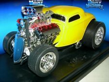 33 FORD COUPE BRITE YELLOW  MUSCLE MACHINE .MIBOX 1:18
