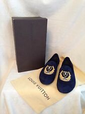 Louis Vuitton Limited Edition GOLD LV CREST Blue Suede Flat Shoes 7.5