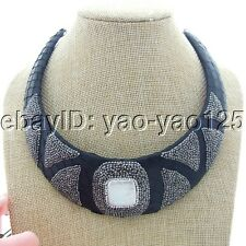 K050605 White Keshi Square Pearl Black Leather Choker Necklace