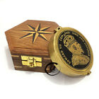 Vintage Edwardian Victoria Treasure Pocket Compass w/ Wooden Box/Case Gift