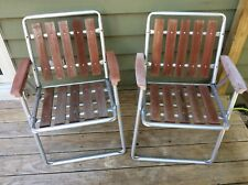 2 Aluminum Lawn Chairs Red Wood Slats Vintage Outdoor Folding Chairs Beach