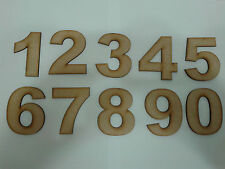 Set of 10 Laser Cut Bold Wooden Numbers 0 to 9 75mm High 3mm MDF