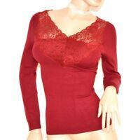 PULL rouge femme maillot manche longue décolleté brodé pullover underjacket F110