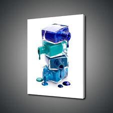 BOTTLES OF SPILLED BLUE AQUA NAIL POLISH CANVAS PRINT WALL ART PICTURE PHOTO