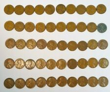 Roll of 50 Different Lincoln Wheat Pennies 1919-1958D with 1943 Steel