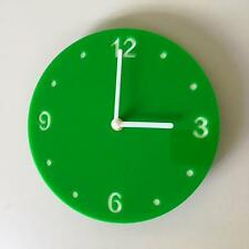 Round Bright Green& White Clock (White Backed) White Hands Silent Sweep Movement