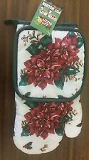 RARE 2 pc Printed Kitchen Set: 1 Pot Holder & 1 Oven Mitt, FLOWERS by PRIDE