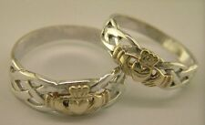 Sterling Silver & 14 Carat Gold Irish Handcrafted Claddagh Celtic Design Rings