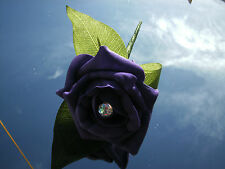 Wedding rose (purple) buttonholes x 6 with diamante or pearls